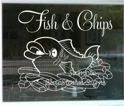 LARGE FISH AND CHIPS WINDOW SIGN No2